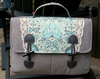 Swoon Dorian Messenger Bag purse cross body in Tula Pink Saltwater Octogarden and linen with lace accents