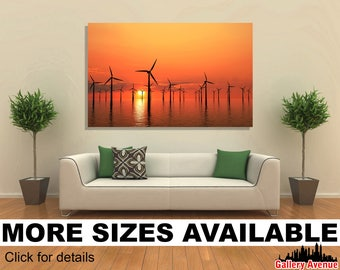 Wall Art Giclee Canvas Picture Print Gallery Wrap Ready to Hang Wind turbine offshore sunset 60x40 48x32 36x24 24x16 18x12 3.2