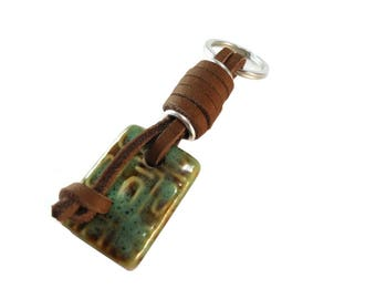 Small Leather Keychain Brown and Green, Brown Leather Wrap Keychain Green Porcelain Rectangle Drop, New Home or Car Gift For Women or Men