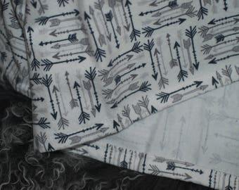 Gray Arrows on White, Flannel Receiving Blanket