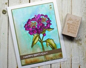 Happy Birthday Watercolor Flowers Fancy Greeting Card Handmade in Purple Blue Green for Friend Sister Mom Daughter Aunt Coworker