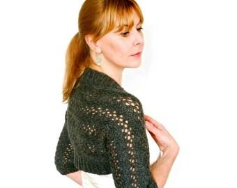 Wool Shrug. Gray Shrug. Gray Bolero. Grey Cardigan. Lace Knitting. Lily Lace Shrug. Wool Bolero. Hand Knit Bolero. Lace Bolero