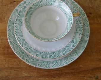 Retro Bavaria Bareuther Cup, Saucer and Dessert Set