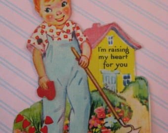 Vintage Valentine / Mechanical Valentine / Little Boy / Gardening / Lithograph / Die Cut / 1930's Ephemera
