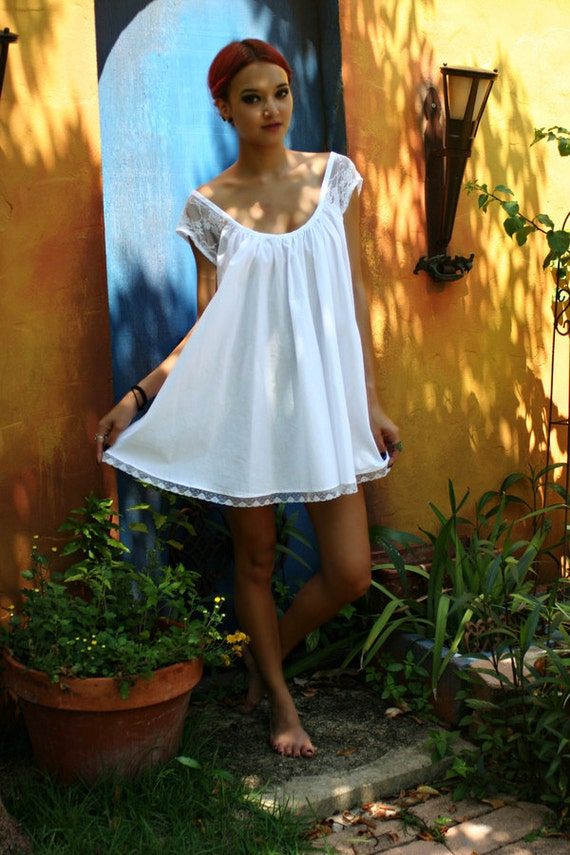 White Cotton Baby Doll Nightgown Shabby Chic Full Swing Lace