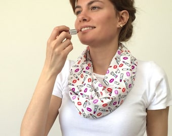 Lipstick Scarf, Lips Infinity Scarf, Colorful Loop Scarf, Printed Circle Scarf, Boho Foulard, Mother's Gift, Women's Gift, Designscope,