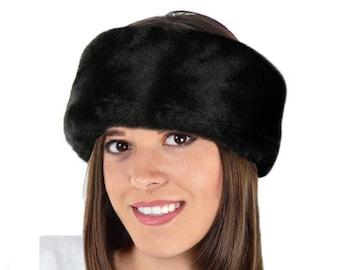 Faux Fur Headband, BLACK BEAVER Fur Head Warmer/ Ear Warmer