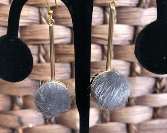 SABLE FUR BUTTON Earrings