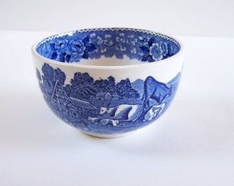 """Little Staffordshire blue ceramic bowl  """"English scenic"""" vintage  Made in England"""