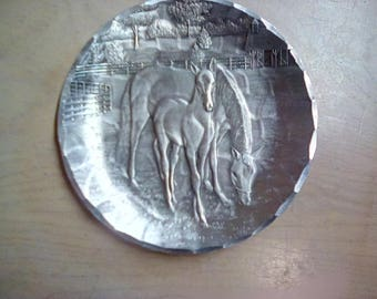Wendell August Forge Pewter Plate Horses