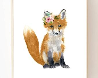 Watercolor fox, Woodland Nursery Art, Animal Paintings, Fox cub, Animal Wall Art, Childrens Wall Decor, Kids poster, fox painting