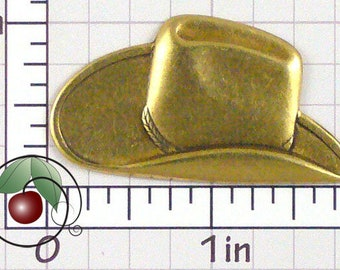Cowboy Hat Finding Brass Cowboy Hat Stamping, Western Decor, Western Hat Made in USA Antique Brass, 1 Pc, 1425bo