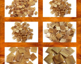 Brown Sugar Squares Stained Glass Mosaic Tiles Opal Hand Cut Spectrum