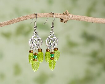 Celtic Forest Beaded Dangle Earrings. Spring Green.