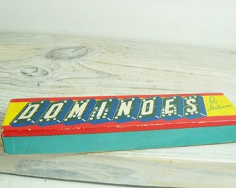 Dominoes by Halsam Double Sixes Vintage Game Wooden Dominoes Dragon Design 1950s 29 Pcs Original Box #622 Made in USA