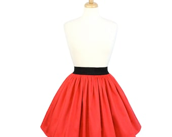 SPRING SALE!!Solid Coral Red A-line Pleated Skirt