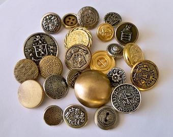 2 Dozen Assorted Vintage Metal Buttons