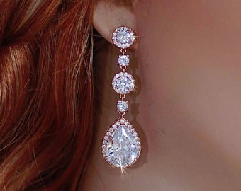 ROSE GOLD Bridal Earrings Party Zirconia CZ Crystal Brides Made of Honor Accessory Swarovski Bride Wedding Weddings Prom Gift Jewelry 056