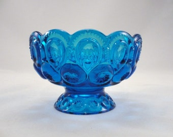 Vintage L. E. Smith Colonial Blue Moon and Stars Compote bowl, peacock blue bowl