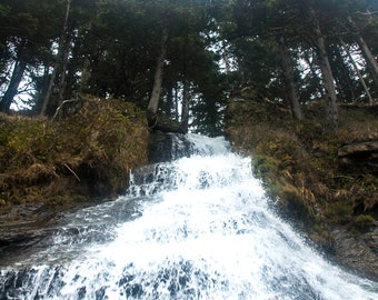 Falling Down, Waterfall Photograph, Ecola State Park, Oregon, Photography, Landscape, Photography Print
