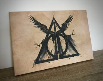 """Harry Potter Inspired """"The Deathly Hallows"""" Original Unique Artwork A4 Canvas Print Gift Mothers Day Teacher Best Friend Wedding - EPIC MODZ"""