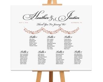 Watercolor Wedding Seating Chart Rose Gold Table Assignment Rehearsal Dinner Decorations Wedding Reception Seating Plan Table or Alpha Order