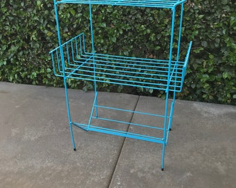 Mid Century Teal Blue Metal Magazine Book Shelf or Record Plant Stand
