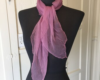 Vintage Purple Scarf, Sheer Nylon Scarf, Purple Chiffon Scarf, Lavender, 50's 60's Style, Rockabilly, Head scarf, Neck Scarf, Hair Scarf