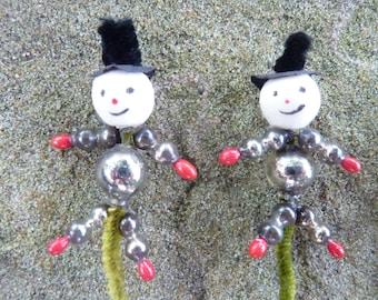 1 Vintage Spun Cotton Mercury Glass Snowman Christmas Pick Tie On Tree Decor Pick (#786)