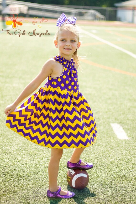 Girls LSU Dress - Louisiana State University - LSU Game Day Dress -Purple and Gold Dress - Football Dress - Football Sister