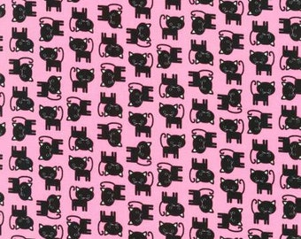 Urban Zoologie Minis, Pink Cats cotton fabric by Robert Kaufman
