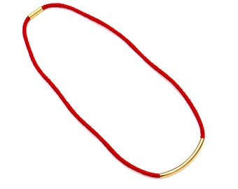 Red And Gold Tube Necklace, Mothers Day Necklace, Unique Gift For Her