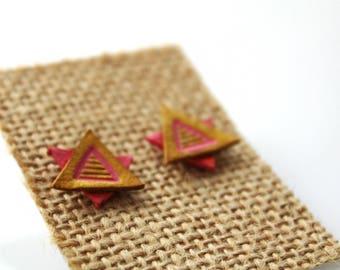 Leather Aztec Triangular Post Earrings