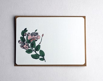 The Vintage Flowers Note Card set in Pink and Green  - Set of 3, 6 or 10 Flat Notecards and Kraft Envelopes