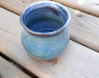 Pottery wine tumblers, tea,  cup, stembless goblets in denim blue holds six ounces