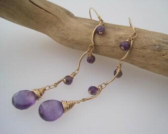 Amethyst Earrings - Dangle Earrings - Purple - Birthstone Jewelry - February Birthstone - Amethyst Jewelry - Gold and Stone Earrings