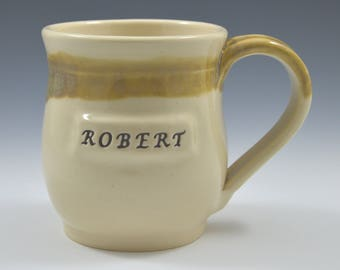 Made to order, Personalized pottery mug, custom mug, personalized with a name, words, or logo
