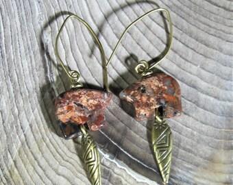 """Brecciated Jasper """"Zuni"""" Bear & Brass Earrings"""