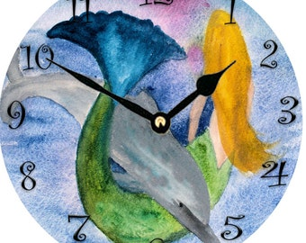Playful Dolphin and Mermaid l Wall Clock round from my art