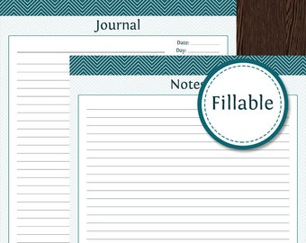 Notes & Journal Pages - Fillable - Printable PDF - Instant Download - Perfect for your Planner, Household Binder, Travel Planner