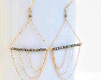 Pyrite Earrings- Gold Filled Earrings- Asymmetrical Earrings- Gold Filled Chandeliers- Black and Gold Earrings- Chain Earrings- Fool's Gold