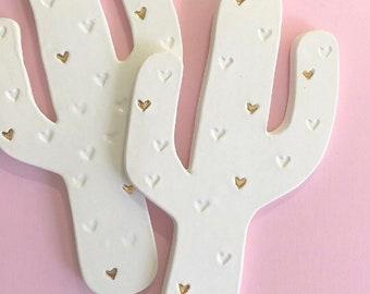 Saguaro cactus ceramic wall hanging, with heart pattern, 22k detail