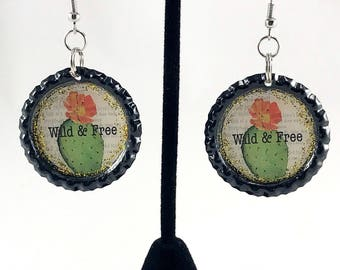 Cactus Earrings, Bottle Cap Earrings, Cactus Bottle Cap, Cactus Jewelry, Wild and Free, Gift for Her, Kitsch Jewelry