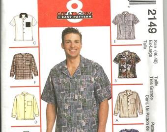 McCalls 2149 uncut size X large 46 - 48 mens shirt