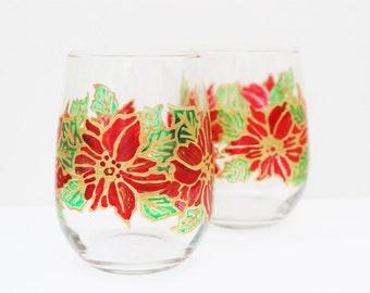 Hand painted wine glasses, Painted wine glasses, poinsettia wine glasses, christmas wine glasses, wine gift, stemless glass, glassware