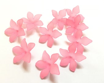 Lucite Acrylic Beads 12 pcs, Frosted, Dyed, Flower, acrylic flower beads 27x29mm, lucite flower beads, acrylic flowers, pink flower beads