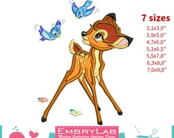Applique Fawn Bambi with Birds. Machine Embroidery Applique Design. Instant Digital Download (17348)