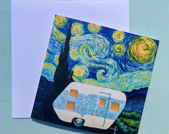Starry, Starry Night Vintage Trailer Greeting Card