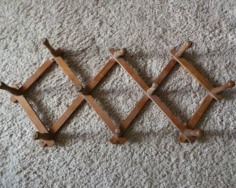 Vintage Wood Accordion Rack Folding 10 Peg Mug Coat Hat Expandable Wall Hanger