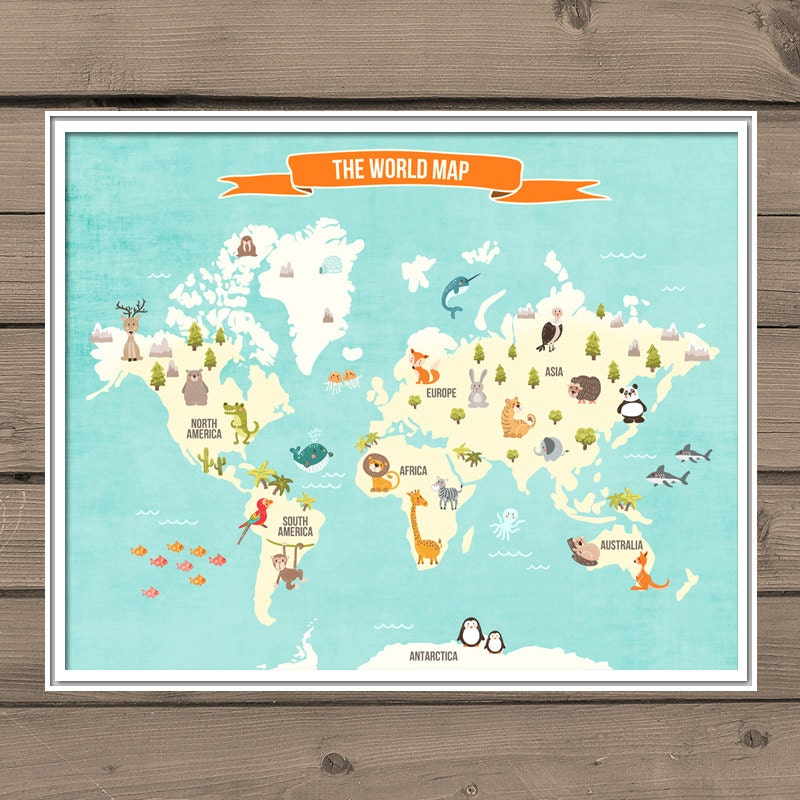 World map decal world map animals animal world poster map zoom gumiabroncs Gallery